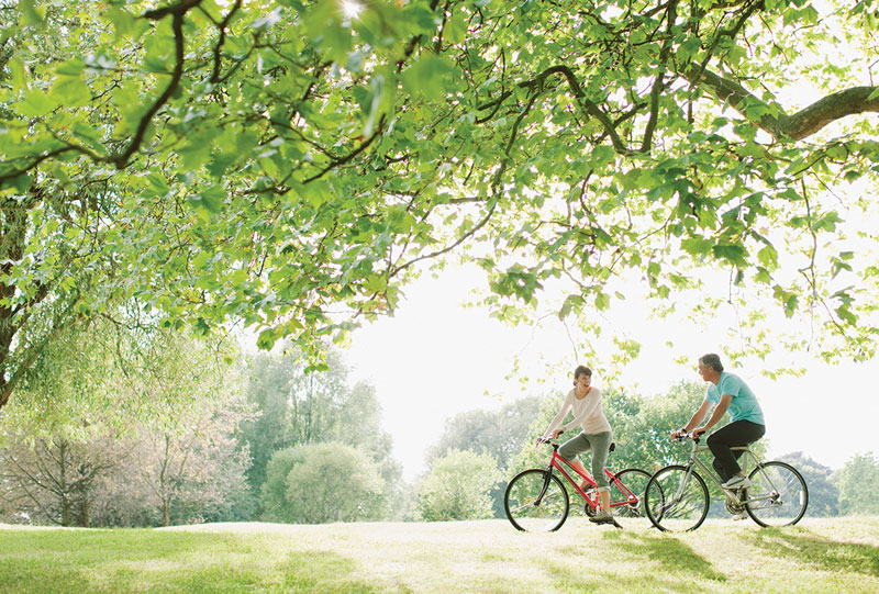 Couple riding bikes on a summer day in park.