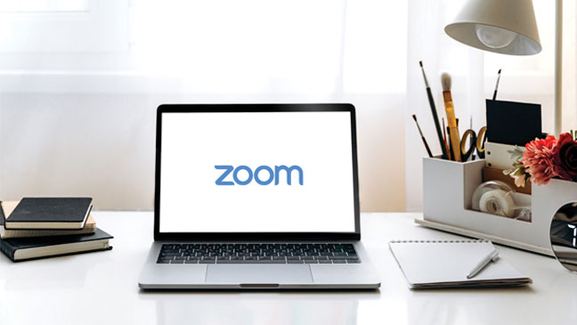 Computer with Zoom logo